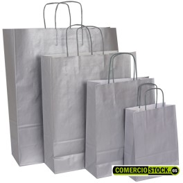 Silver twisted handle paper bags